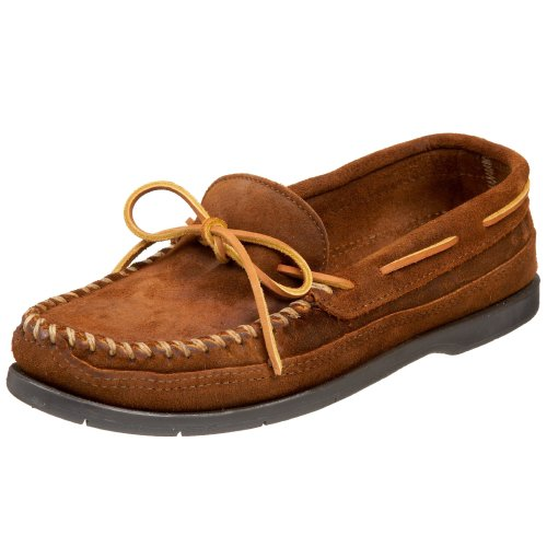 (Minnetonka Men's Double Bottom Slip-On,Brown Ruff,9.5 M US)