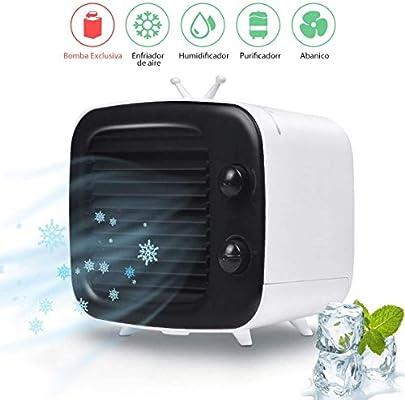 Enfriador de aire, aire acondicionado tipo mini TV, tanque de agua independiente sin fugas de agua, perilla de viento ajustable Nuevo humidificador de filtro de aire: Amazon.es: Bricolaje y herramientas