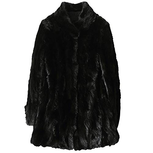 Jsix Women's Genuine Mink Coat Winter Real Fur Jacket Warm Thick Outerwear (M) Black ()
