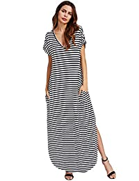 Women's Casual V Neck Side Split Beach Long Maxi Dress