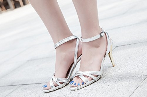 Charm Foot Womens Chic Open Toe High Heel Ankle Strap Sandals Silver 6n78KvoW