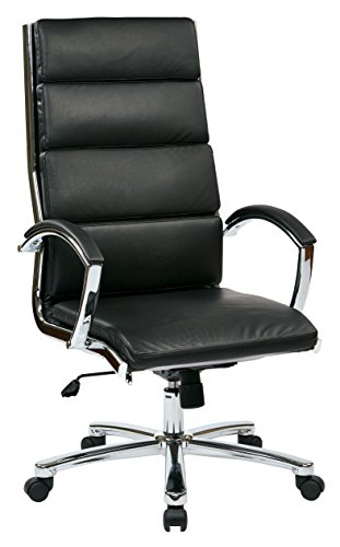 Office Star Faux Leather Seat and High Back Contour Executive Chair with Padded Arms and Chrome Finish Accents, Black