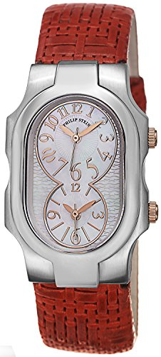 Philip Stein Signature Ladies Dual Time Red Leather Strap Watch 1-MOPRG-CWR