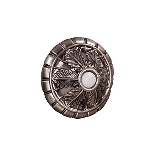 Craftmade BSMED-AP Designer Surface Mount Round Lighted Doorbell LED Push Button, Antique Pewter (3
