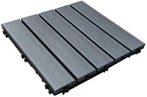 U-Sen-Tree Pure PS Outdoor Deck & Patio Flooring Interlocking Tiles 12 X 12 Inch, 10 Pack(GREY)