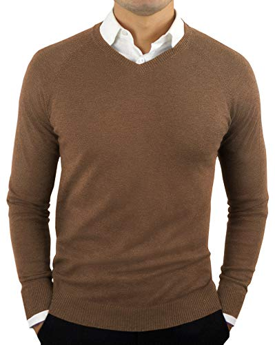 Comfortably Collared Men's Perfect Slim Fit Lightweight Soft Fitted V-Neck Pullover Sweater, Large, Monk's Robe Brown -