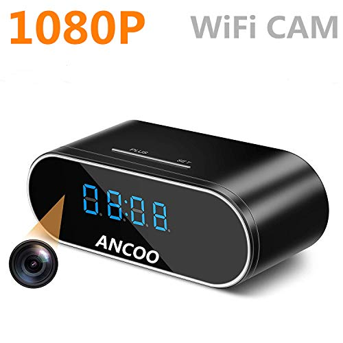 Hidden Camera, ANCOO Spy Camera in Clock WiFi Hidden Cameras 1080P Video Recorder Wireless IP Camera for Indoor Home Security Monitor Nanny Cam Night Vision Motion Detection
