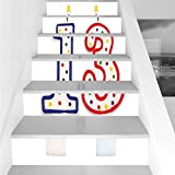 Stair Stickers Wall Stickers,6 PCS Self-adhesive,13th Birthday Decorations,Cute Sweet Colorful Burning Candles Number Thirteen Party Objects,Multicolor,Stair Riser Decal for Living Room, Hall, Kids Ro