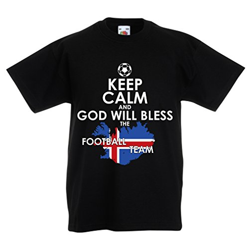 fan products of lepni.me N4474K Kids T-Shirt Keep Calm and God Will Bless The Icelandic Football Team (9-11 Years Black Multicolor)