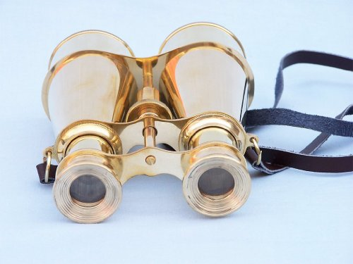 "Hampton Nautical  Captain's Solid Brass Binoculars, 6"", Brass"