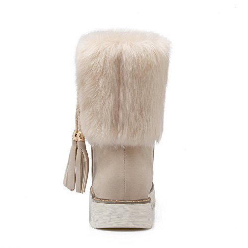 Low Boots Closed AgooLar top Round Heels Solid Toe Low Women's Beige Imitated Suede npZPZWR