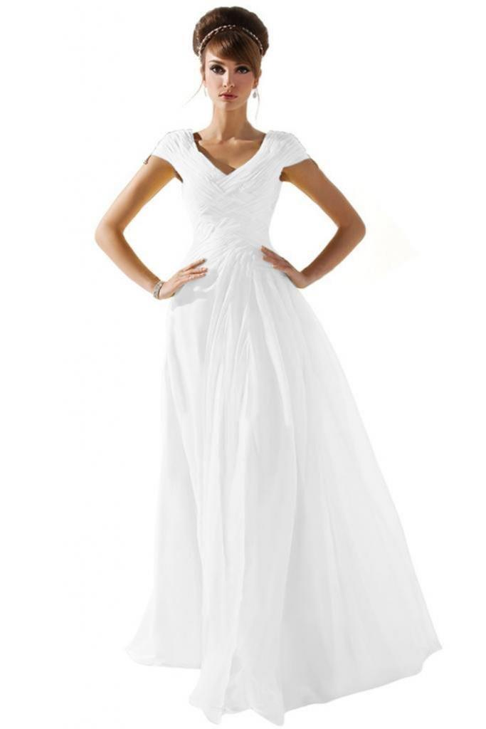 Dearta Women's A-Line V-Neck Short Sleeves Floor-Length Prom Dress US 8 White