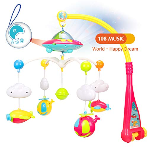 WishaLife Musical Baby Crib Mobile Toy with Lights and Music, Star Projector Function and 4 Dangling Aircraft Toys, Remote Control Musical Box with 108 Melodies, Baby Toys for 0-24 Months Newborn from WishaLife
