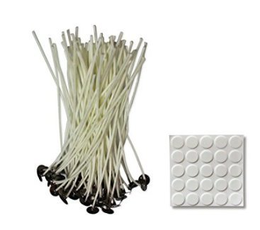 (Soy Candle Wick with Wick Stickers-8 Inch 50pcs, Low Smoke, Pre-Waxed 100% Natural Cotton Core with Tabs for DIY Candle Making- Perfect for Votives, Containers (Jars, tins), Pillar Candles)