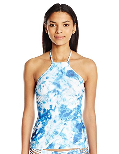 Seafolly Women's Caribbean Ink Reversible High Neck Singlet Tankini, Blueindigo, 4