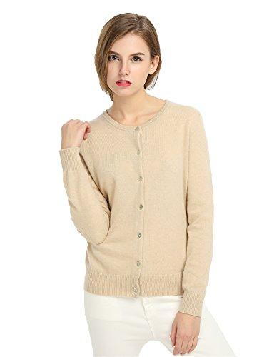 Cashmere Sweater Beige (MIUK 2017 New Women's 100% Cashmere Cardigan Basic Slim Crewneck Sweater Light Beige XL)
