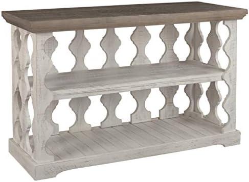 Amazon Com Signature Design By Ashley Havalance Farmhouse Console Table W Shelf Whitewash Brown Wood Furniture Decor