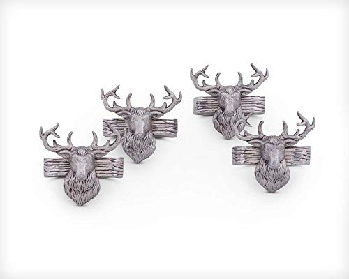 (Arthur Court Aluminum Napkin Rings with Elk Head Rustic table 3
