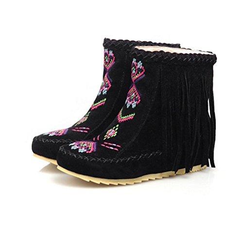 redonda del cabeza la tubo de talón botas borla gran de las femeninas QPYC mujeres black Bordado 40 corto plana 43 tamaño del de vgCExwEI4q