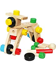 TOWO Wooden Nuts and Bolts set Building Blocks Construction Kit 30 Pieces with a draw string bag - Model Building Tool Kits for Kids - Wooden toys Building Set for 4 years old
