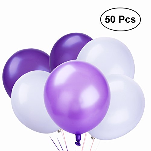 TOYMYTOY Latex Balloons,10 Inch White Purple Balloons for Party Supplies,50pcs,3 Colors
