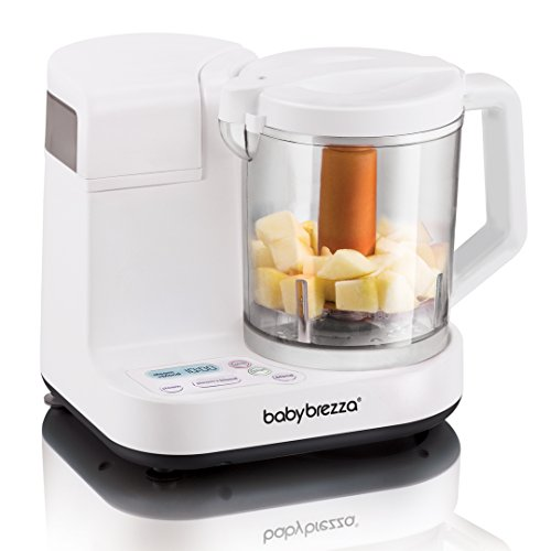 Baby Brezza Glass Baby Food Maker – Cooker and Blender to Steam and Puree Baby Food for Pouches in Glass Bowl - Make Organic Food for Infants and Toddlers – 4 Cup Capacity ()