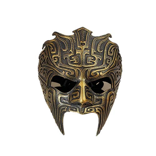 TTXST Halloween Mask Dance Party High-Grade Resin Mask Ghost Masks Cosplay Adult COS Dress Up Headgear Mask Costume Fancy Dress Party Props Supplies,Gold]()