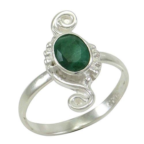 Banithani925 argent pur bande de bague de mode émeraude facettes de pierres précieuses bijoux