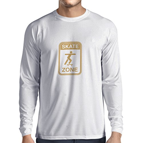 lepni.me Long Sleeve T Shirt Men Skate Zone - for Skaters, Skate Longboard, Skateboard Gifts, Skating Gear (XS White Gold)