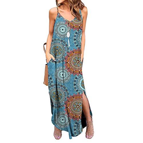 Goddess Sun Flower Sexy Dress V-Neck Bohemian Sleeveless Strapless Strapless Dress Blue ()