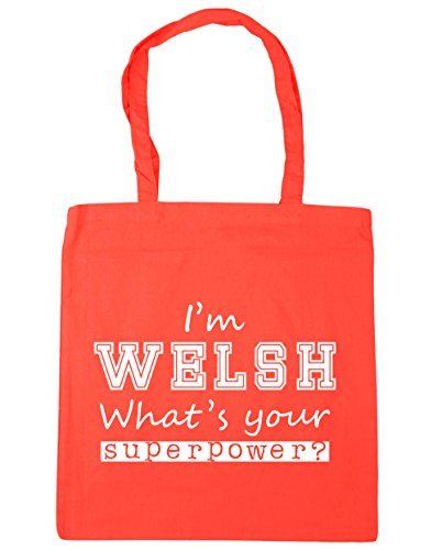 I'm Welsh x38cm What's Beach Coral Shopping Superpower Your Tote HippoWarehouse 42cm 10 litres Gym Bag q5UZcdWqT