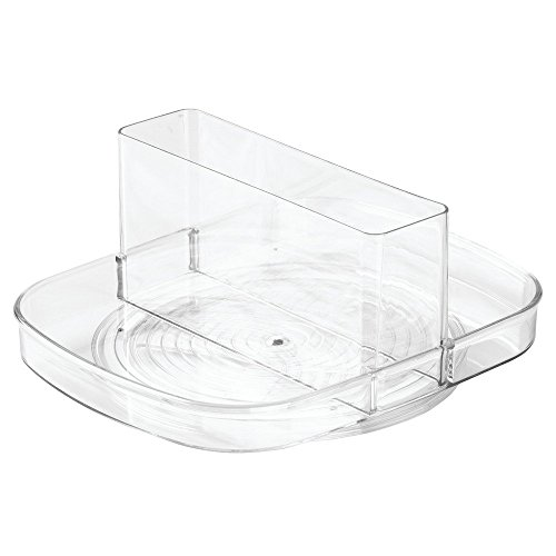 InterDesign Linus Lazy Susan Turntable Napkin and Condiments Holder - Clear Napkin Spinner