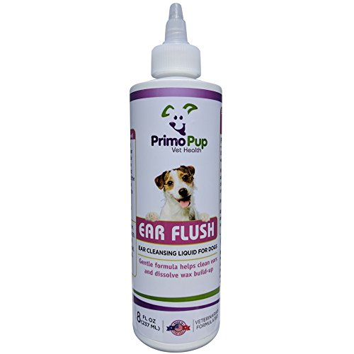 Primo Pup Vet Health - Ear Flush for Dogs – Veterinarian Formulated to Clean, Deodorize, Dissolve Wax Build-up, Reduce Irritation and Help Prevent Infection – Gentle Liquid Cleanser - 8 fl (Chlorhexidine Flush)
