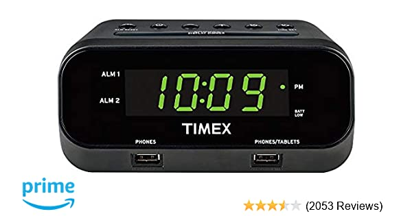 0154891e514a Amazon.com  Timex T129B RediSet Dual Alarm Clock with Dual USB Charging and  Extreme Battery Backup - Black  Home Audio   Theater