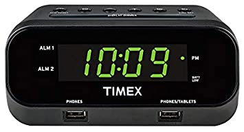 iHome Timex RediSet Dual Alarm Clock with Dual USB Charging, Black  (T129B)and Extreme Battery Backup,