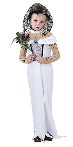 Girls Zombie Bride Halloween Costume (Bristol Novelty White/Black Zombie Bride Childrens Costume Girls Small 5-7 Years)