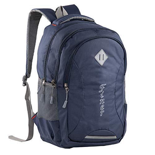 Finer Multipurpose Backpack|Soft College School Bags for Girls Boys Women|Travel Shoulder Bagpacks Waterproof|Travel Bags|Mens Fits Laptop & Notebook| 27L with raincover |Navy Blue