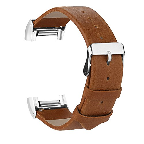 iGK Leather Replacement Bands Compatible for Fitbit Charge 2, Genuine Leather Wristbands Brown with Metal Connectors