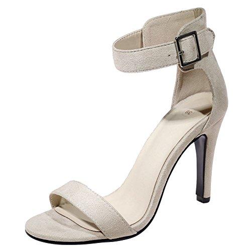 Mee Shoes Damen high heels Nubukleder ankle strap Sandalen Hellgrau