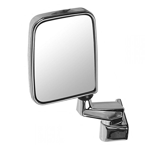 Door Mounted Chrome Manual Mirror L Driver Side Left for 87-02 Jeep Wrangler (Mirror Manual Mounted Door Drivers)