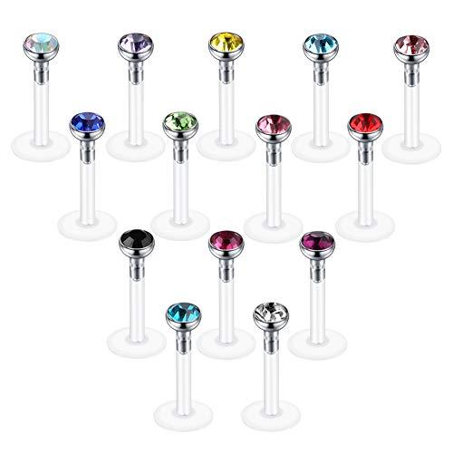Xpircn Monroe Lip Rings 16g Bioplast Ear Labret Piercing Jewelry for Men Women Girls (14PCS Mix Color)