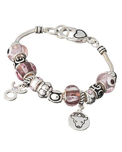 (Jewelry Nexus Zodiac Taurus Pink Bead Silver-tone Charm Elegant Designer Bracelet)