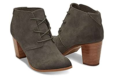 Toms Women's Lunata Lace-Up Tarmac Olive Burnished Suede Booties (6)