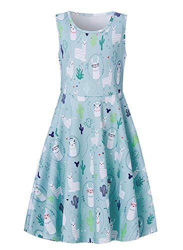 Little Girls Casual Sleeveless Dress Outfits 3D Print Alpaca Twirling Tank Dress A Line Skirt Costume 8-9T