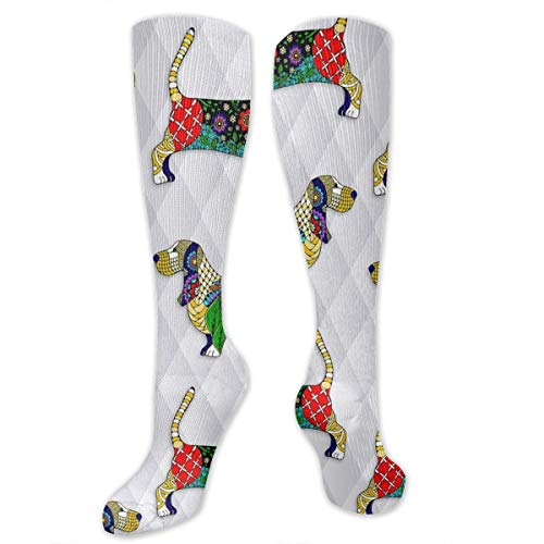 Classics Compression Socks Day of The Dead Bassett Hound Personalized Sport Athletic 50cm Long Crew Socks for Men Women