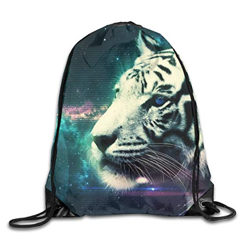 Gym Drawstring Bags Backpack White Tiger Sackpack Sport Tote For Travel Storage Shoe Organizer Space Saving School Shoulder Bags Gift Bags Kids