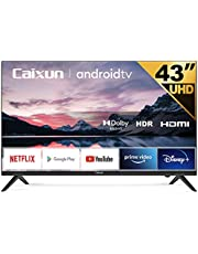 Caixun EC43S1A, 43 inch UHD HDR Smart Android TV with Google Assistant (Voice Control), Bluetooth,Wi-Fi,Chromecast Built-in, Screen Share, HDMI, USB (2021 Model)