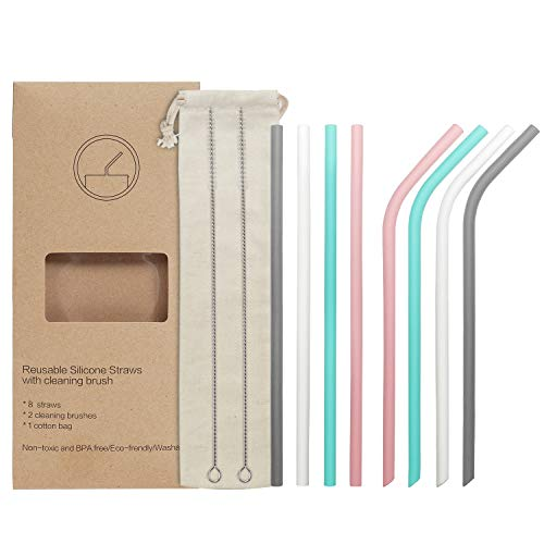- 8 Reusable Silicone Drinking Straws Set, YIHONG Regular Size 9.8 Inch Silicone Straws for 20oz and 30oz Tumblers for Coffee Lemonade Cold Beverage(4 Straight|4 Bent|2 Brushes|1 Pouch)