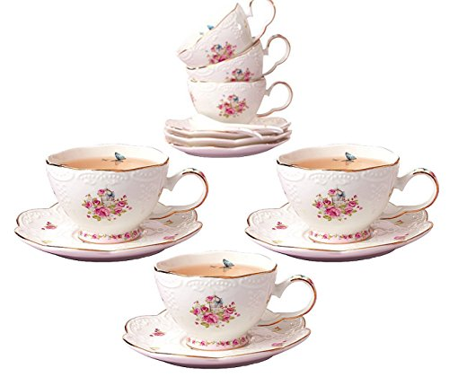 Jusalpha Porcelain Tea Cup and Saucer Set-Coffee Cup Set with Saucer and Spoon FD-TCS11 (Set of ()