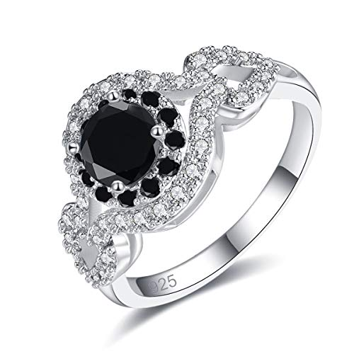 Humasol 925 Sterling Silver Filled Cubic Zirconia Black Spinel Promise Proposal Engagement Wedding Rings for Women Girl Size 8